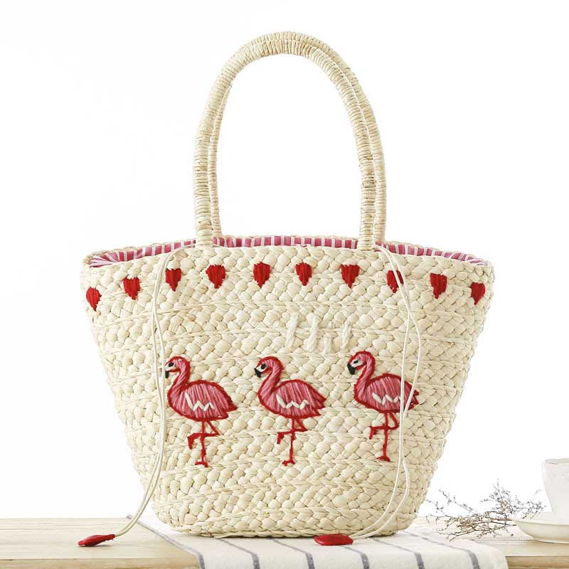 Ladies Drawstring Bags Embroidery Red-crowned Crane Beach Bag For Women Handmade Straw Hoilday Vacation Basket Bag Travel Tote