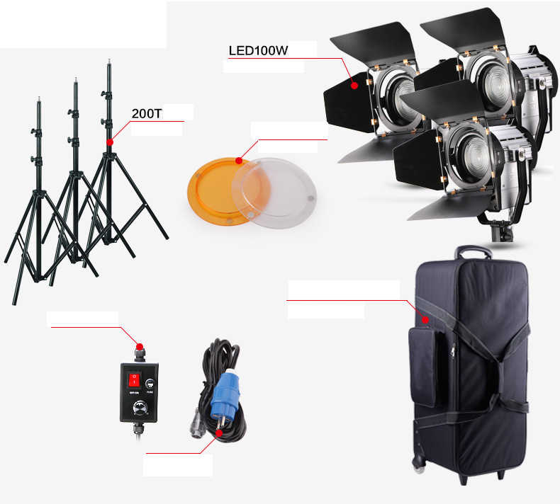 Regulável Bi-color 3 pcs LED100W LED Estúdio Fresnel spot Light 3200-5500 K + Estande Luz + bandeira Refletor + saco de Transporte de vídeo Estúdio cd50
