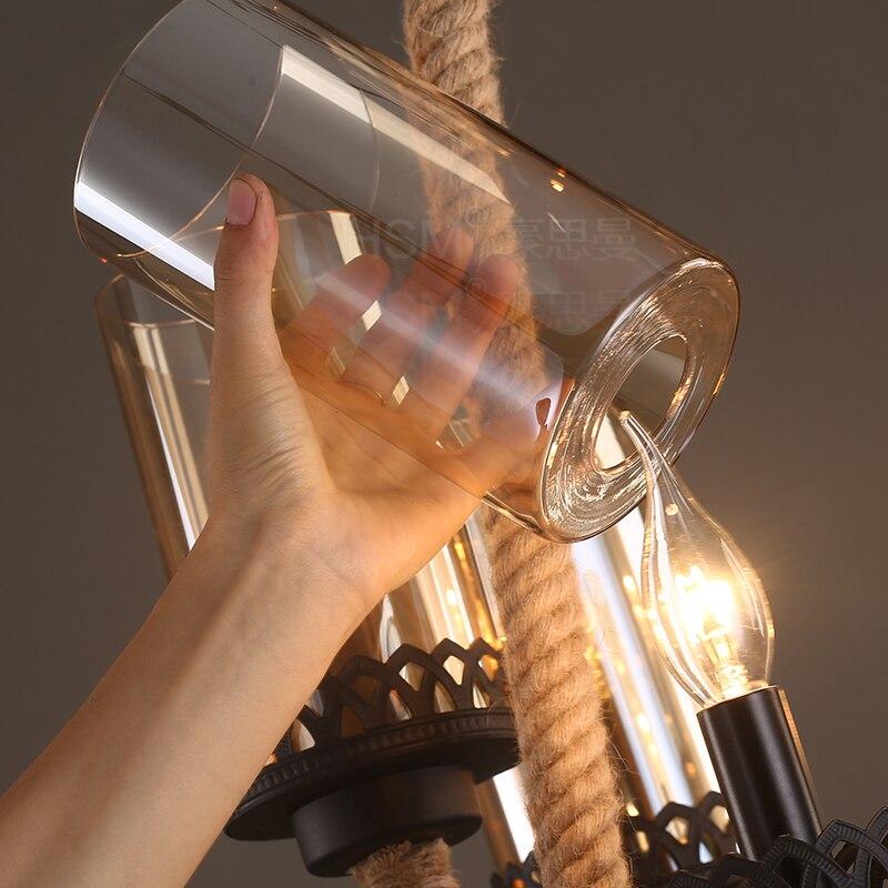 Американская деревенская Ретро 6 персональное подвесное светлое стекло креативная гостиная ресторан кафе железная вязаная картографическая лампа LU728307 - 2