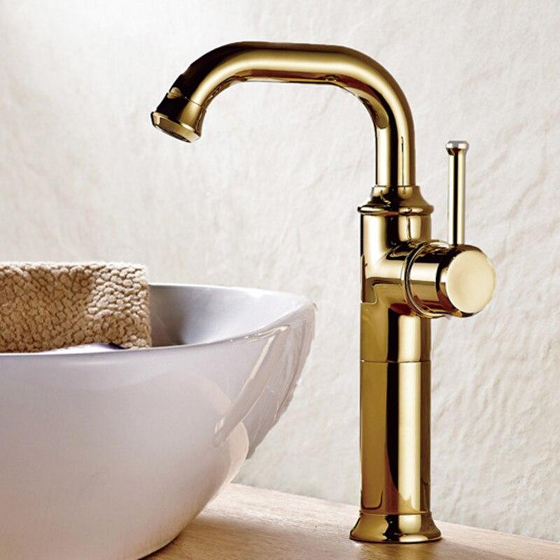 Vidric europeu latão banhado a ouro torneira do banheiro, altura up torneira da bacia quente & fria torneira misturadora bacia