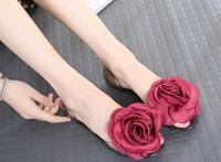 Women S Crystal Jelly Shoes 2017 Summer Women Rose Floral Sandals Fashion Beach Shoes Lady S