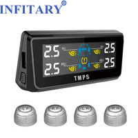 Wireless TPMS With 4 External Sensors Solar Power LCD Display MircoUSB Charge PSI BAR For SUV