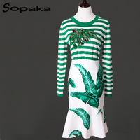 Sopaka High Quality Runway Design Women Sets Green Leaf Printed Crystal Sequins Stripe Top And Zip