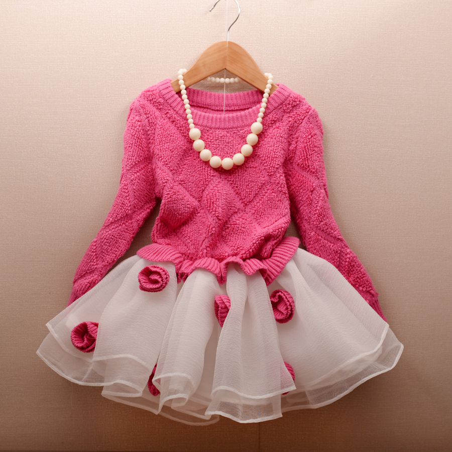 Christmas Girl winter long sleeve kids tulle Sweater flower knitted dress children age size 2 3 4 5 6 7 8 9 10 years old кольца