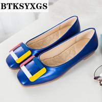 BTKSYXGS 2018 Women Shoes Leather Tide Fashion Square Toe Buckle Comfortable Breathable 33 43 Women S