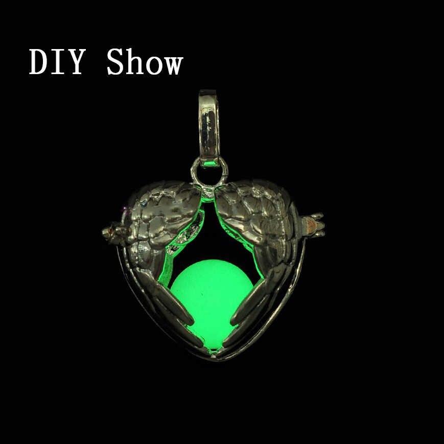 音楽ボールロジウム色ヴィンテージケージペンダント DIY 翼ハートディフューザーためアロマエッセンシャルオイル