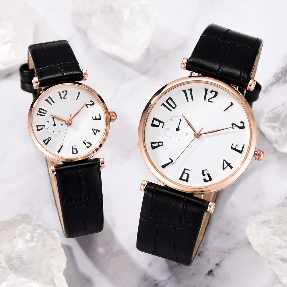 Couple Watches Lover's Commemorate Gift Clock Fashion Unisex Watch Leather Strap Analog Quartz Ladies Wristwatches Mujer Set