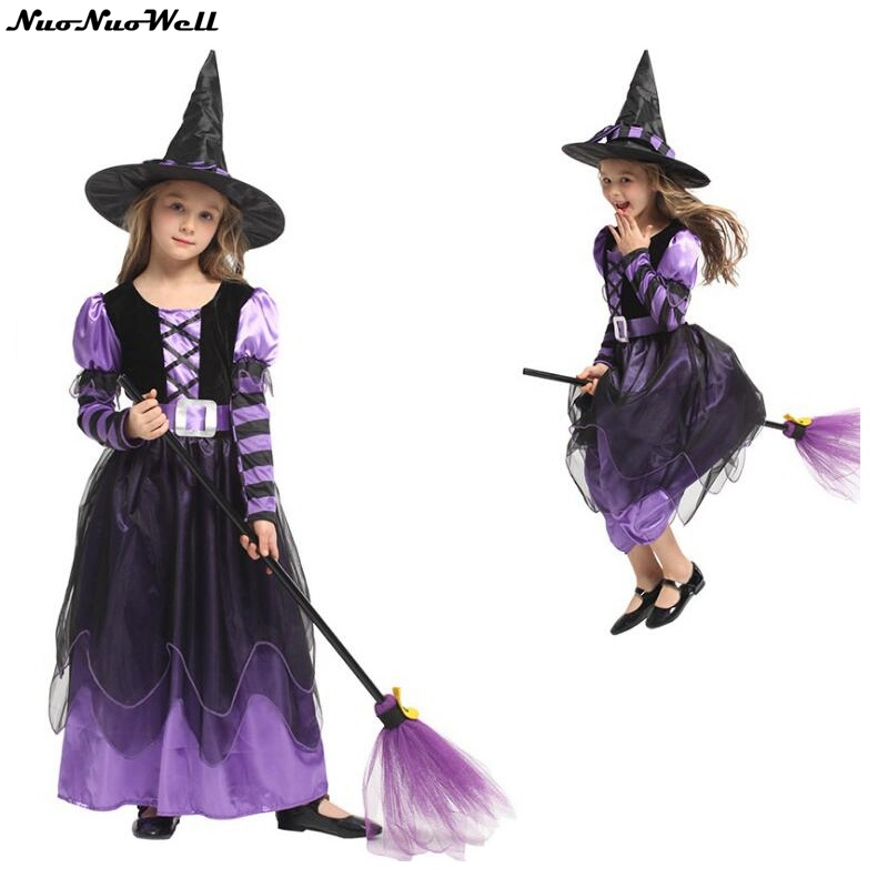 New Arrival Halloween Party Children Kids Purple Cosplay Witch Costume For Girls Halloween Costume Party Witch Dress With Hat Girls Costumes Aliexpress