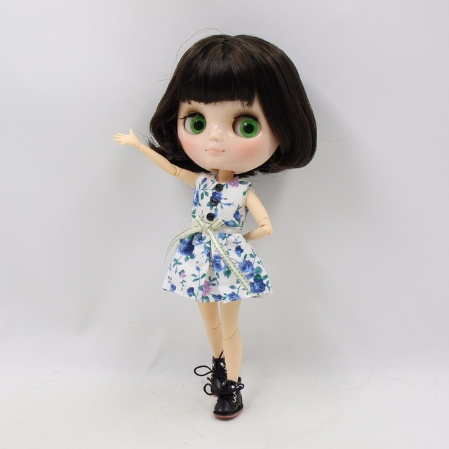 TBL Middie Blythe Doll Short Black Dark Brown Hair Jointed Body 20cm