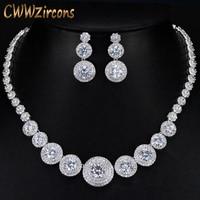 CWWZircons Gorgeous Micro Inlay Full Small CZ Stone Around In Round Cubic Zirconia Women Wedding Jewelry Sets For Brides T239