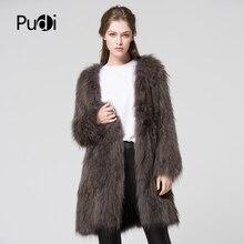 CT7011 вязаное пальто из натурального меха енота куртка пальто женское зимнее теплое пальто из натурального меха Верхняя одежда темно-серый 80 см длина