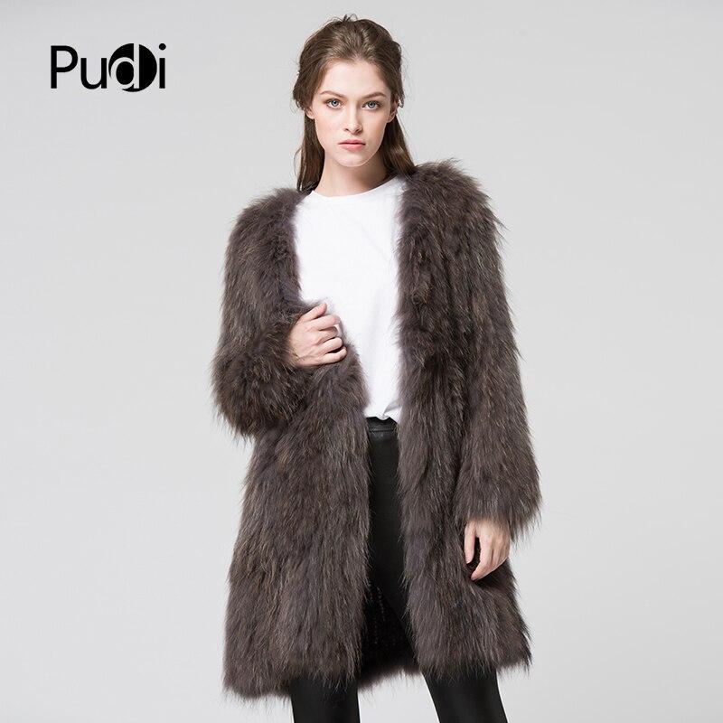 CT7011 de punto de piel de mapache Real abrigo chaqueta de abrigo de invierno de mujer abrigo de piel genuina abrigo gris oscuro 80 cm longitud-in piel real from Ropa de mujer    1