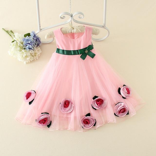 Spitze Mädchen Kleider Blume 3D Kinder Kleid Partei Prinzessin Baby ...
