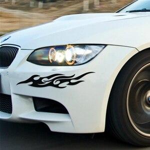Image 2 - Sliverysea 2pcs 자동 불꽃 스티커 자동차 스타일링 범용 자동차 스티커 스타일링 엔진 후드 오토바이 데 칼 장식