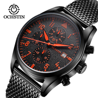 OCHSTIN Men's Quartz Watch Stainless Steel Mesh Band Black Sports Watch Male Chronograph Mens Watch Top Brand Relogio Masculino