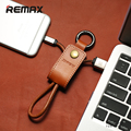Remax ios 9 cabo 8pin usb para iphone 5 5c 5s 6 6 s plus ipad air mini couro genuíno keychain do metal colhedor 3.0a rápida carregamento