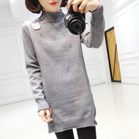 Autumn And Winter A New Dress Color Shirt Split In The Long Loose Knit Sweater Female