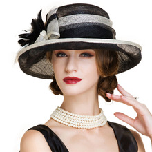 cba64834e2b Black And White Ladies Church Sinamay Hats For Women Linen Fedora Wedding  Fascinators Wide Brim Bow