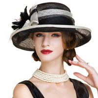 Black And White Ladies Church Sinamay Hats For Women Linen Fedora Wedding Fascinators Wide Brim Bow Floral Kentucky Derby Hat