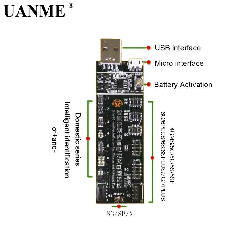 Jig de carregamento da placa da placa da ativação da bateria do telefone de uanme cabo usb para o teste de circuito do iphone 4-8x vivo huawei samsung xiaomi