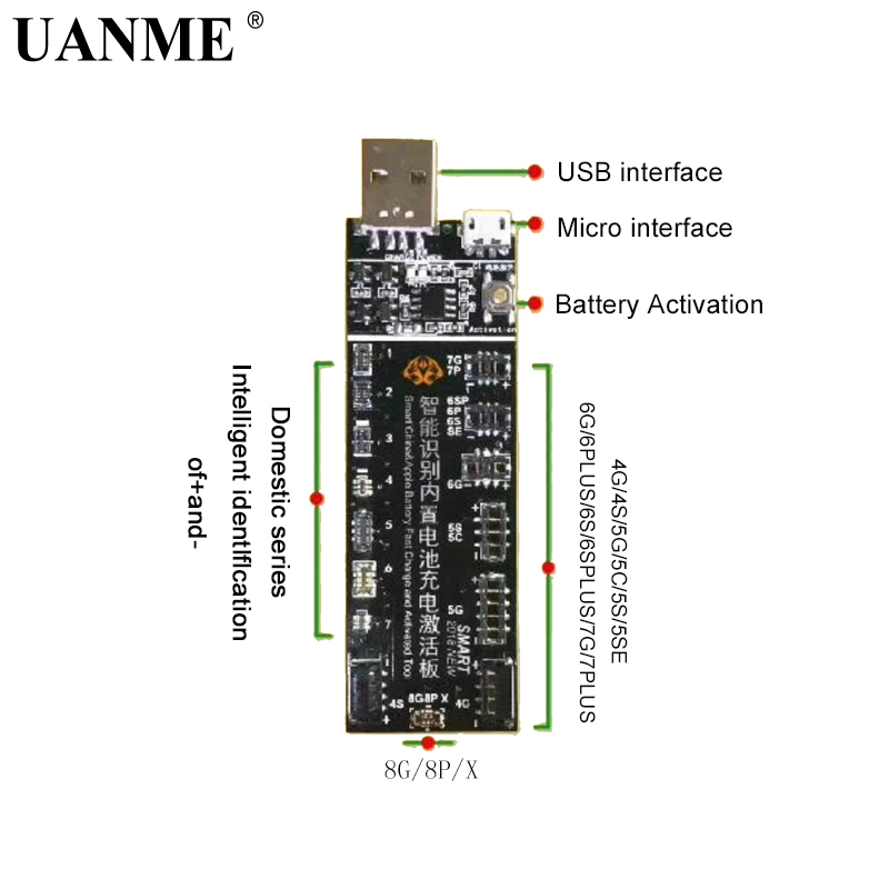 UANME Phone Battery Activation Board Plate Charging USB Cable Jig For IPhone 4 -8X VIVO Huawei Samsung Xiaomi Circuit Test