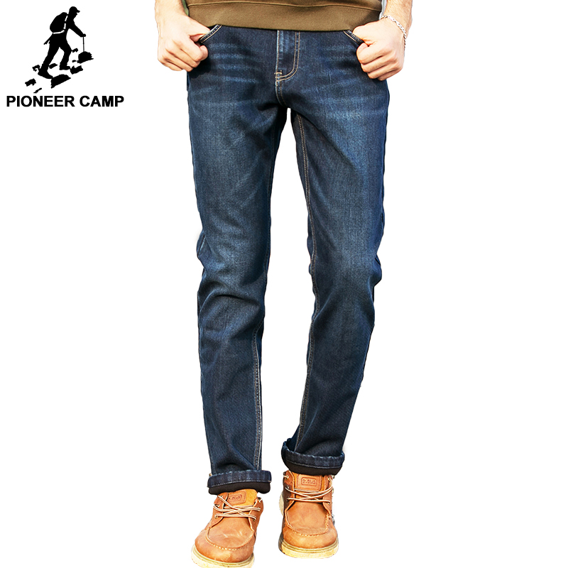 Pioneer Camp winter men jeans thicken fleece trousers brand clothing 2017 new fashion casual trousers male quality pants 517103T pioneer camp new summer thin jeans men brand clothing casual straight denim pants male top quality denim trousers anz703095