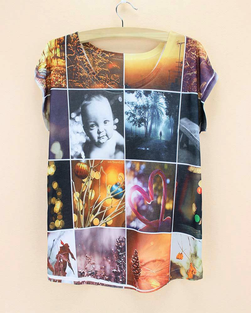 summer short sleeve cheap round neck baby sunrise summer women heart forest women tshirt tree women clothes 2015