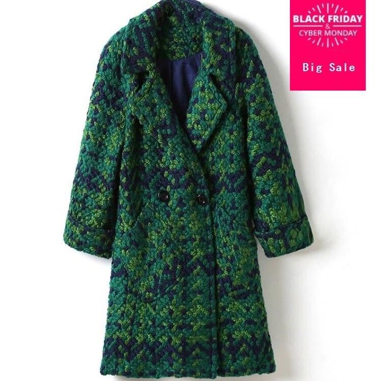 Di alta Qualità di Lana Cappotto di Lana Delle Donne Sottile A Medio-lungo Giacca di Tweed Moda Femminile Outwear Cappotto Verde Delle Donne di Marca Giacca D310