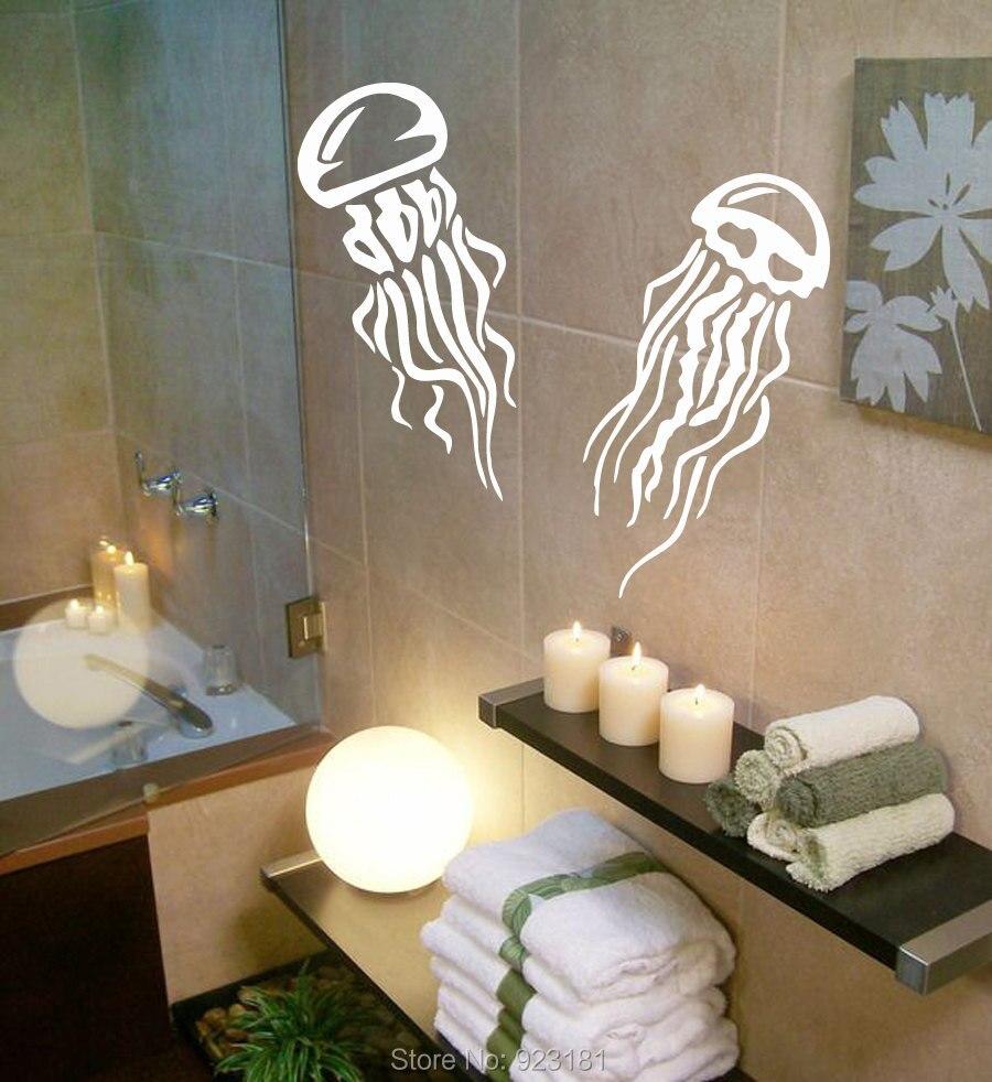Bathroom wall art sea - Jellyfish Sea Ocean Animals Bathroom Wall Art Stickers Decal Home Diy Decoration Wall Mural Removable Room