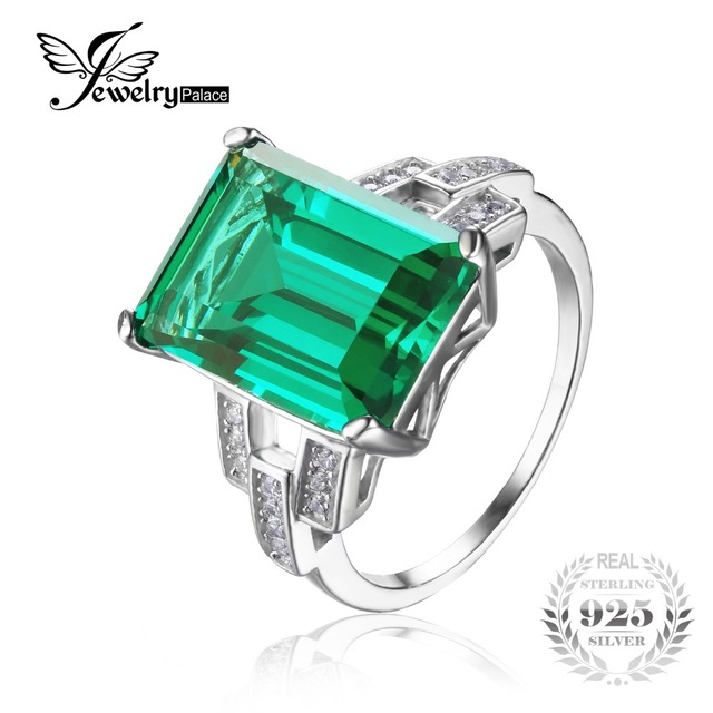 JewelryPalace Luxury 5.9ct Created Green Nano Russian Emerald Cocktail Ring Pure 925 Sterling Silver Engagement Vintage Jewelry