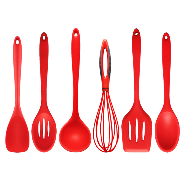 1 Piece 6 Styles Kitchen Silicone Cooking Tools Nylon Cooking Utensils Spoon  Shovel Whisk