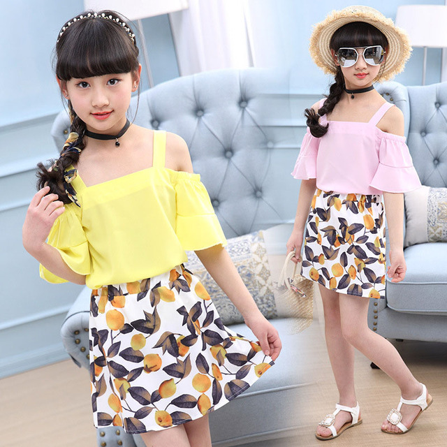 ca2498426 summer girls clothing sets fashion t shirts   floral skirt 2 peice ...