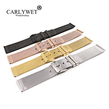 CARLYWET 20 22mm Silver Black Rose Gold Stainless Steel Replacement Mesh Wrist Watch Band Strap Bracelet For Rolex Omega IWC Tag стоимость