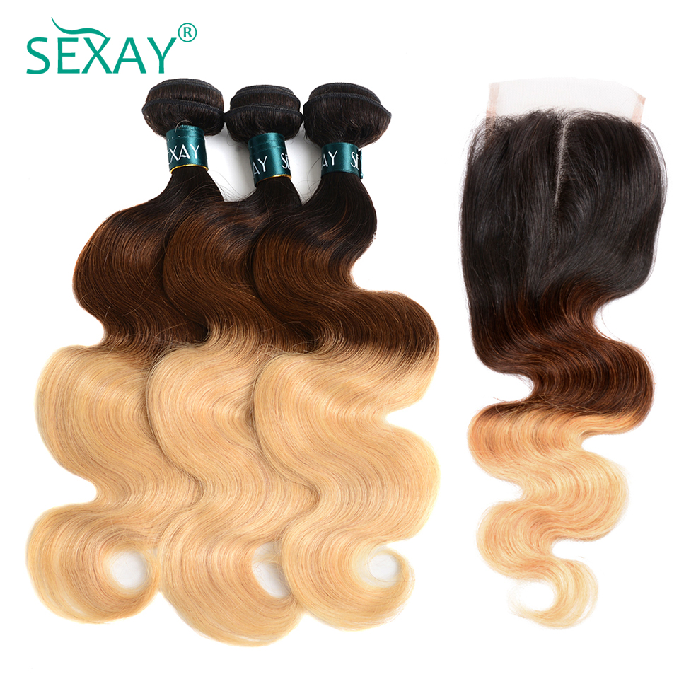 Sexay Blonde Ombre Hair Bundles Buy 3 Get 1 Free Closure Professional 1B/4/27 Three Tone Blonde Brazilian Body Wave Human Hair