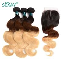 Sexay Blonde Ombre Hair Bundles Buy 3 Get 1 Free Closure Professional 1B/4/27 Three Tone Blonde Brazilian Body Wave Human Hair