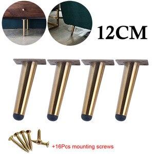 Image 1 - 4 個ステンレス鋼家具の足 10 センチメートルテーブルキャビネット足ソファベッドテレビキャビネットの足と取付ネジ黒斜め足