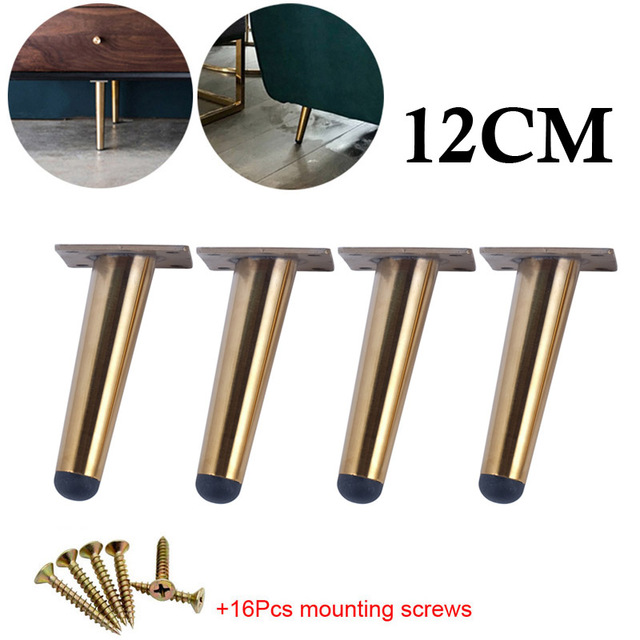 4pcs Stainless Steel Furniture Feet 10cm Tables Cabinets Feet Sofa Bed TV Cabinet Foot With Mounting Screws Black Oblique Feet