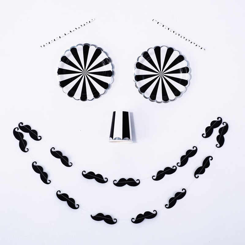 8pcs Black & White Stripe Party Plat Paper Dishes with Silver Scallop Edge Black Mustache Cup Napkin for Little Man Boy Birthday