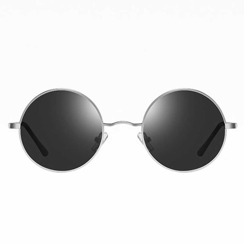 Ретро Классические винтажные круглые поляризованные солнцезащитные очки мужские брендовые дизайнерские солнцезащитные очки женские металлические рамки черные линзы очки для вождения
