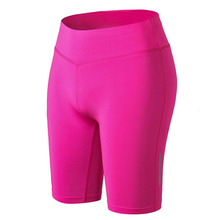 Women Fitness Jogging Yoga Shorts Reflective Strip Night Running Sports Quick-Drying Tight-Fitting High-Waist Polyester