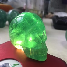 2 inch Natural Green Fluorite Crystal Skull Healing gift Amazing Stones under the light shows