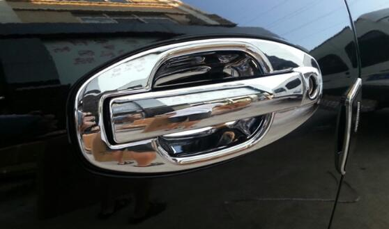 Higher star ABS chrome 4pcs car <font><b>Door</b></font> <font><b>handle</b></font> decoration protection cover+4pcs <font><b>door</b></font> <font><b>handle</b></font> Bowl For <font><b>Hyundai</b></font> <font><b>Santafe</b></font> 2010-2013 image