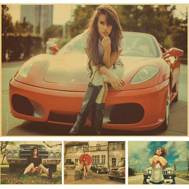 Hot girls & hot cars posters