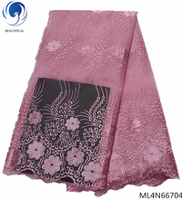 BEAUTIFICAL pink french lace high quality 2019 latest net 5 yards/lot  with stones mesh fabric ML4N667
