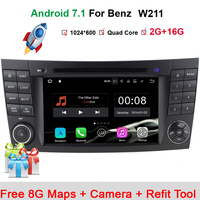 In Stock Quad Core 1024*600 Touch Screen Car DVD Player for mercedes w211 Android 7.1 W209 W219 3G WIFI Radio Stereo GPS 3G