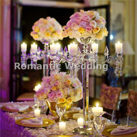 Free shipment 2PCS/lots 4 arms flower candle holder table centerpiece lead road for Wedding decorations event party decorations