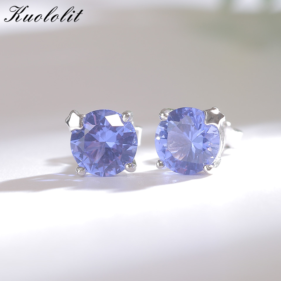 Kuololit Solid 925 Sterling Silver Stud Earrings For Women Created Tanzanite Stone Fashion Star Christmas Jewelry Wedding Gift