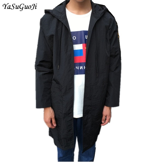 6f7c4bd38cdc New 2019 spring Japanese solid color casual thin jacket men loose type long trench  coat men with hooded men windbreaker FY2