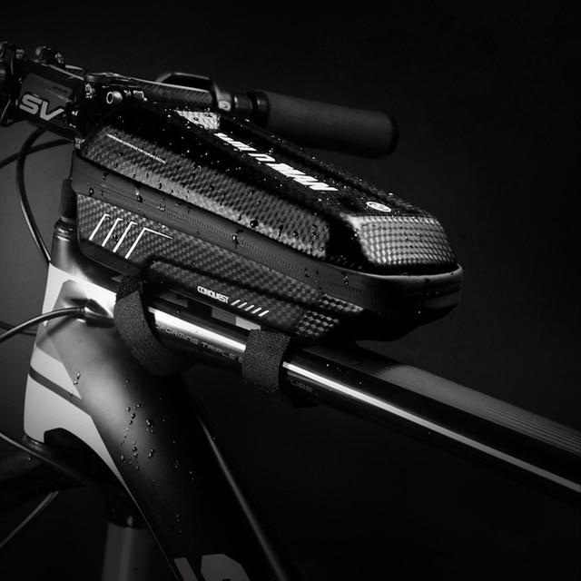 WILDMAN impermeable marco frontal manillar tubo superior bicicleta bolsa pantalla táctil bolsa para teléfono móvil triángulo bolso con carcasa dura bolsa de sillín trasero