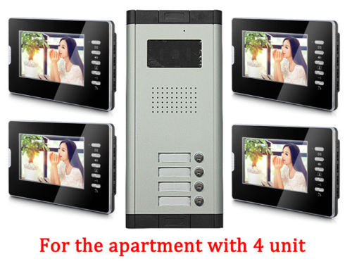Apartment 4 Units Wired Video Door Phone Audio Visual Entry Intercom System 1V4 new apartment 2 unit intercom entry system wired video door phone audio visual